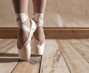 FototapetaBallet Shoes on Wooden Floor