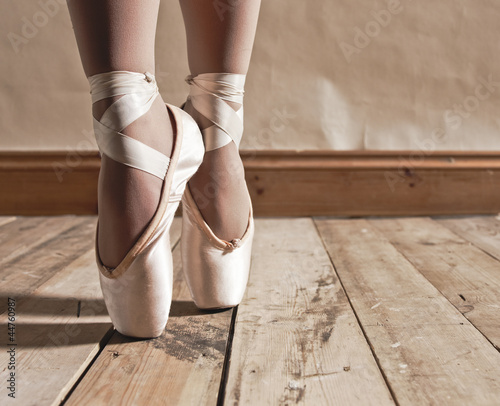 Fotobehang Dance School Ballet Shoes on Wooden Floor