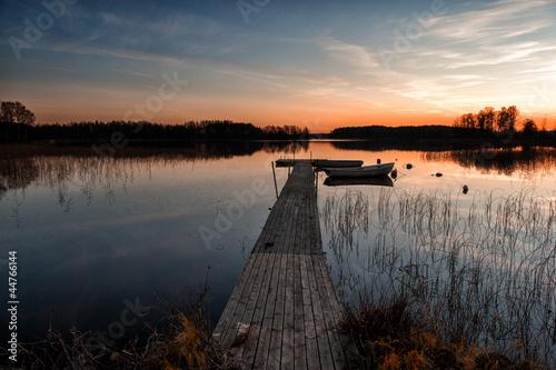Fotobehang Pier Scandinavian sunset