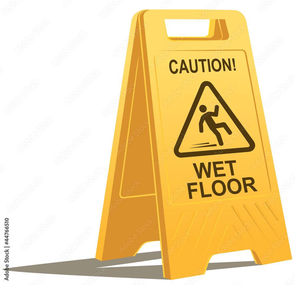 Fototapeta wet floor caution sign
