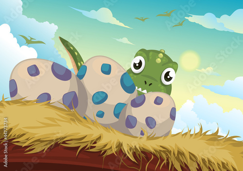 Keuken foto achterwand Dinosaurs Beautiful Cartoon dinosaur and egg vector