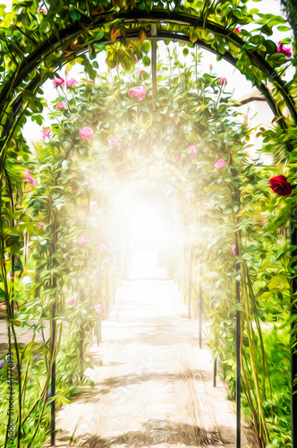 Photo  Flower garden with arches decorated with roses.