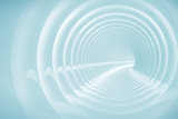 Fototapeta Scene - Abstract illustration with white bent spiral tunnel