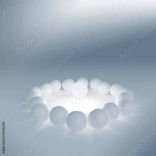 fototapeta na szkło One lighting sphere among simple white