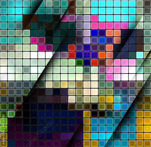 Poster de jardin Pixel Colorful abstract mosaic background