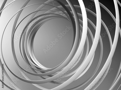 Monochrome abstract 3d spiral background - 44784505