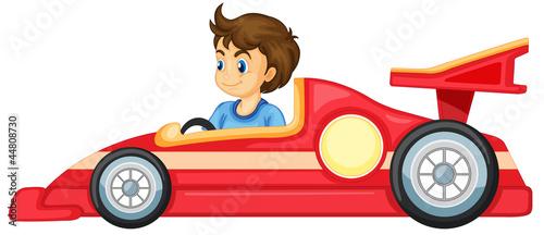 Foto op Canvas Cars a boy driving a car