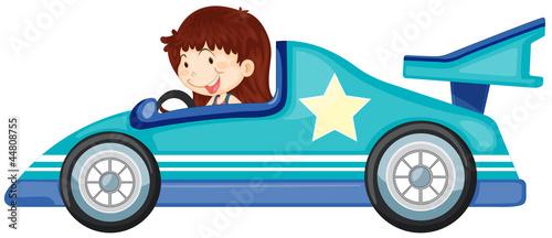 Foto op Canvas Cars girl driving a car