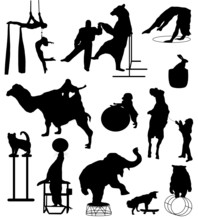 Collection Of Silhouettes Of C...