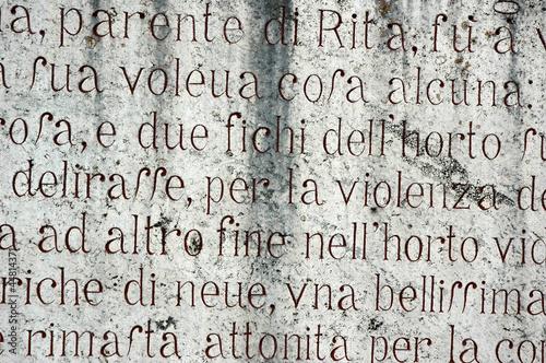 Fotografie, Obraz  STORIA DI SANTA RITA INCISA SULLA ROCCIA