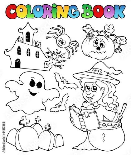 Tuinposter Doe het zelf Coloring book Halloween topic 8