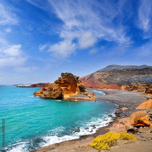 Foto-Schiebegardine Komplettsystem - Lanzarote El Golfo Lago de los Clicos