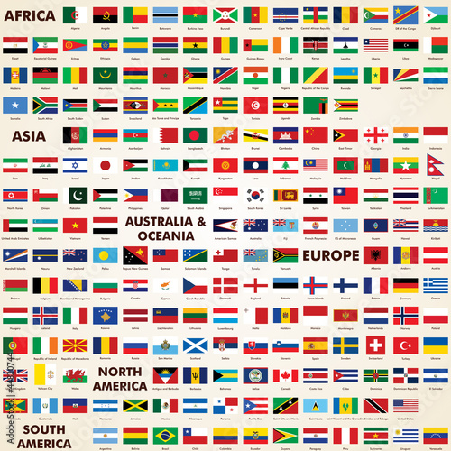 Flags of the world, pack world flags Canvas-taulu