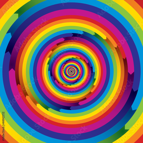 Infinite arrow shaped spiral rainbow elements. - 44842352