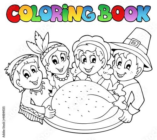 Fotobehang Doe het zelf Coloring book Thanksgiving image 3