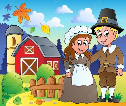 Poster Ranch Thanksgiving pilgrim theme 2
