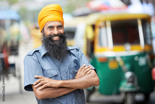 Indian auto rickshaw tut-tuk driver man Canvas-taulu