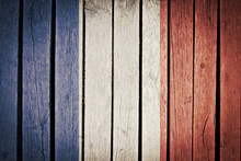 French Flag Painted On Old Wood Plank Background