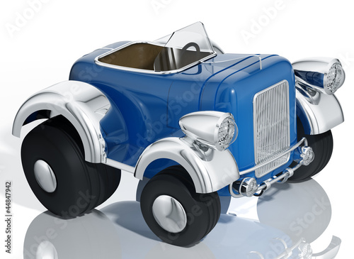 Keuken foto achterwand Cars Blue car hot rod isolated, 3d illustration.