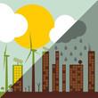 Green ecology city illustration against pollution concept backgr
