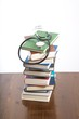 stethoscope on heap of books