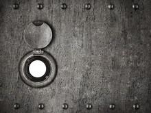 Peep Hole In Grunge Metal Armored Door