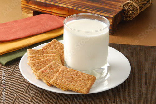 Fotografie, Obraz  Crackers and milk