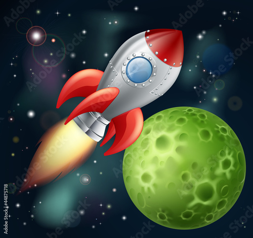 Spoed Foto op Canvas Kosmos Cartoon rocket in space