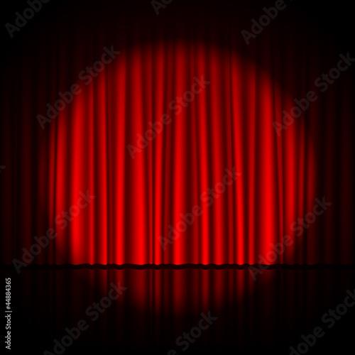 Fotografía  Spotlight on stage curtain