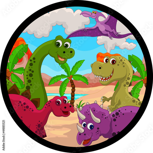 Tuinposter Dinosaurs funny dinosaur cartoon set