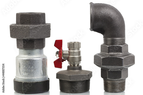 Parts of the heating system on a white background - Buy this stock ...