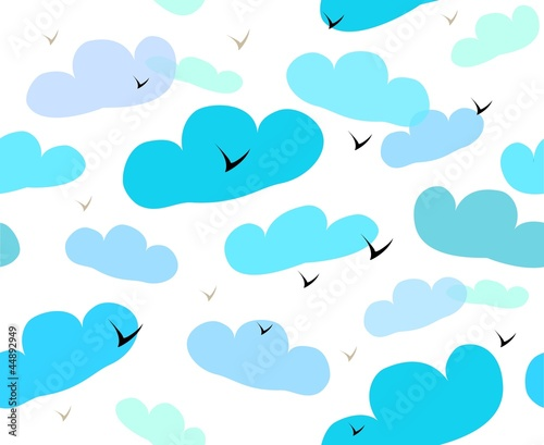 Tuinposter Hemel Seamless pattern with clouds