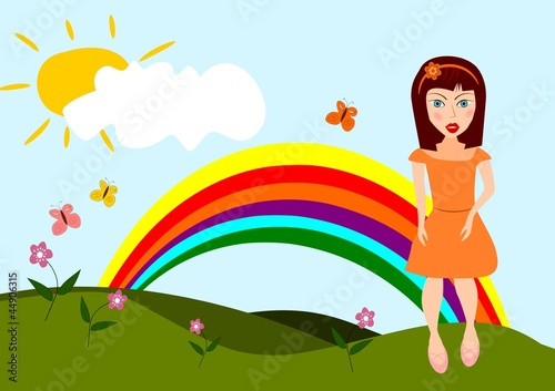 In de dag Regenboog Cartoon nature