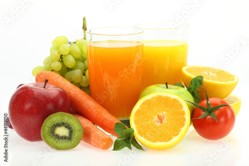 Foto op Canvas Sap Fresh fruits, vegetables and juice