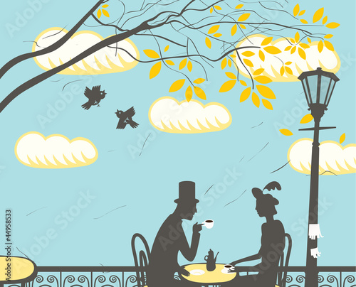 Foto auf AluDibond Gezeichnet Straßenkaffee loving couple in a city cafe in the clouds