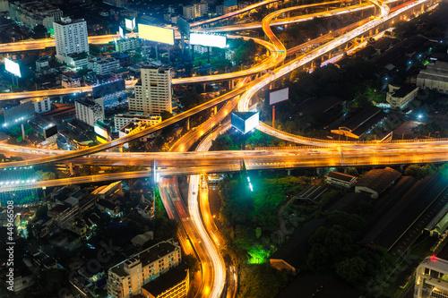 Highest Aerial view of Bangkok Highway Cityscape Wallpaper Mural