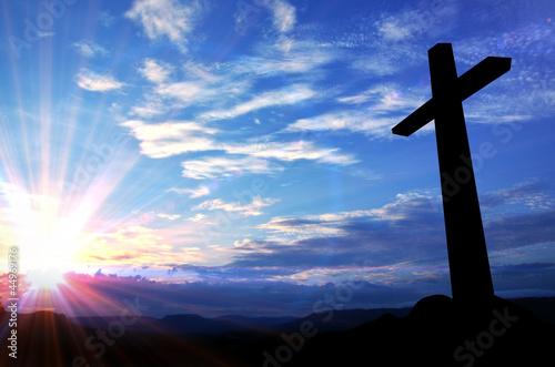 Fotografía  Cross silhouette and the holy blue sky