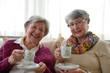 canvas print picture - Two Senior Ladies Having Coffee 1