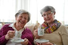 Two Senior Ladies Having Coffe...