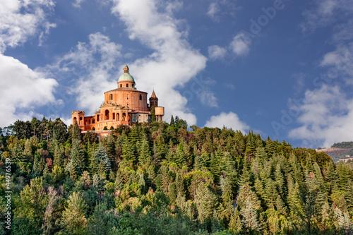 Spoed Foto op Canvas Grijze traf. sanctuary of the Madonna di San Luca, Bologna, Italy