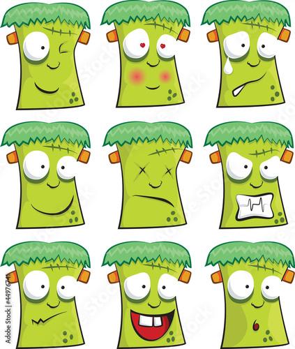 Foto op Canvas Schepselen Frankenstein smiley faces for Halloween