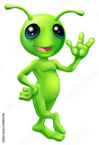 Aluminium Prints Creatures Little green man alien