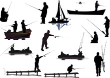 Different Fishermen Collection Isolated On White