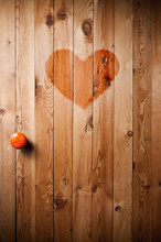 Wooden Door With Red Heart In The Middle