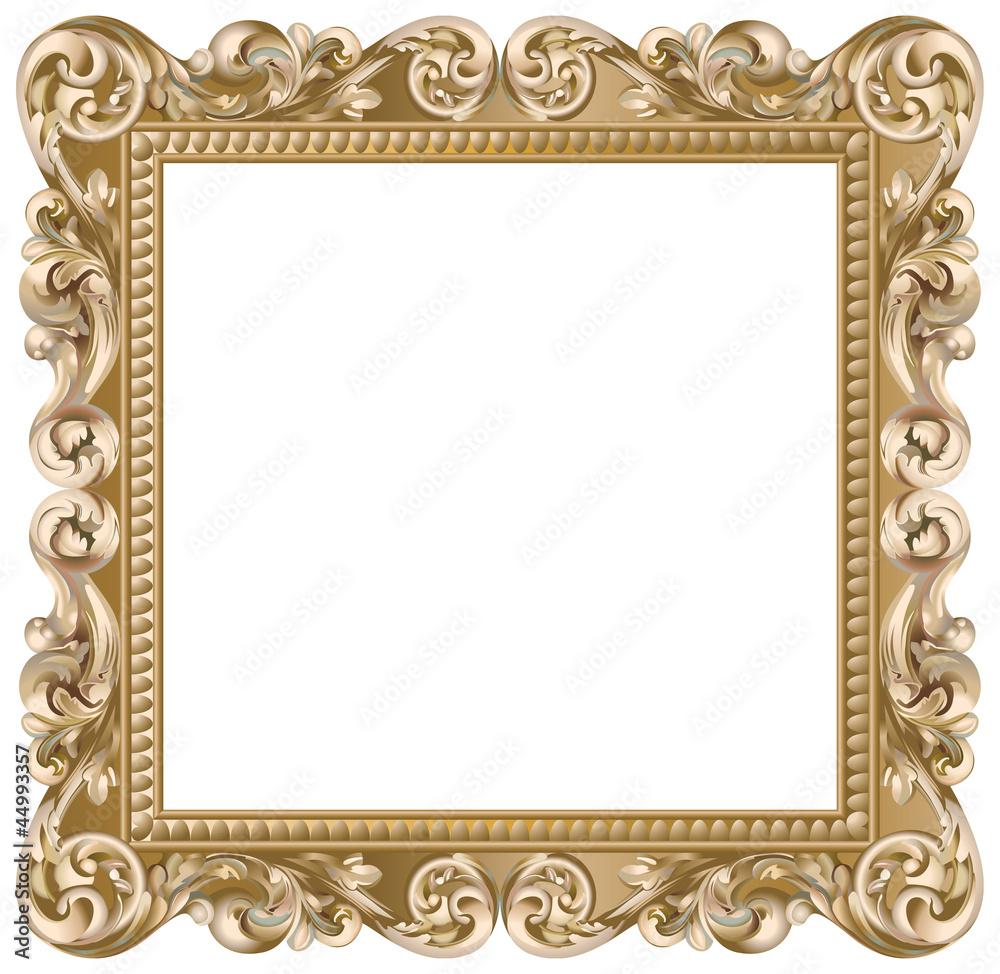Fototapety, obrazy: Cadre baroque carré doré