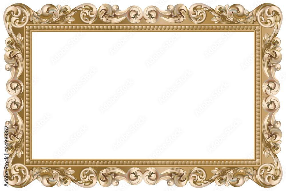 Fototapety, obrazy: Cadre baroque rectangulaire doré