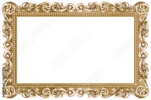 Fotografie, Obraz  Cadre baroque rectangulaire doré