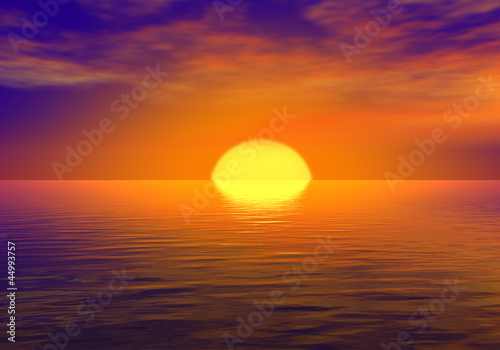 Poster de jardin Grenat Sunset over the sea