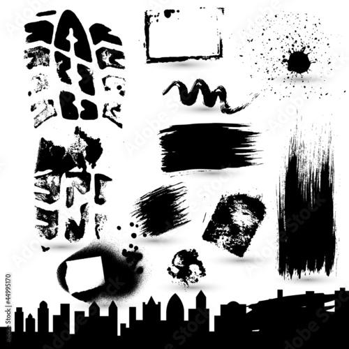 Poster Cartoon draw Grunge Strokes n Skylines Vectors