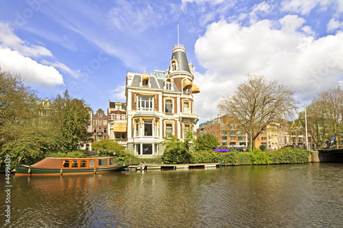 Medieval house in Amsterdam the Netherlands Canvas Print